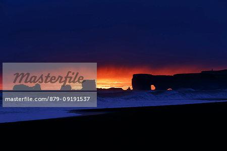 Reynisfjara black beach at sunset, Vik, Southern Iceland