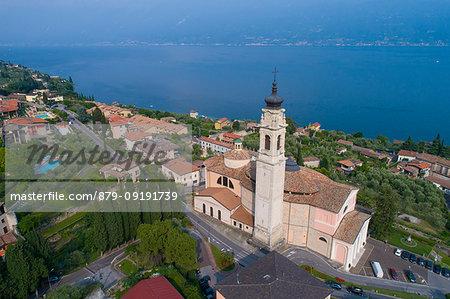 Elevated view of Gargnano, a small village on Garda Lake coastline. Brescia District, Lombardia, Italy