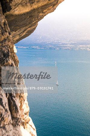 Elevated view of Garda Lake from strada della Forra, a scenic road near Tremosine village, Brescia District, Lombardia, Italy