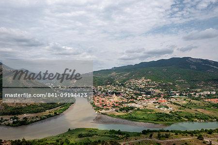 Meeting of the Aragvi and Mtgvari rivers in Mtskheta overlooking Mtskheta, Georgia, Central Asia, Asia
