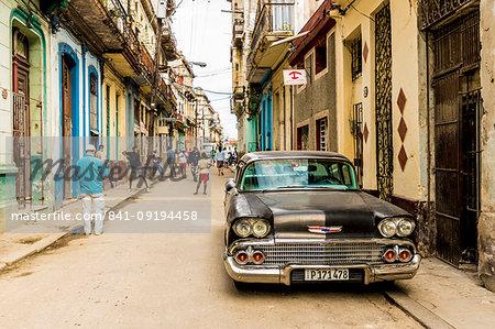 A typical street scene in Havana, Cuba, West Indies, Central America