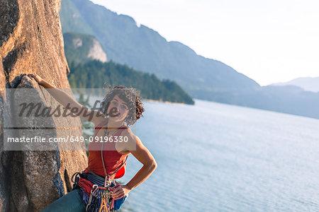 Woman rock climbing, Malamute, Squamish, Canada