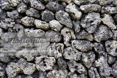 Stone Wall in Taketomi Island, Okinawa Prefecture, Japan