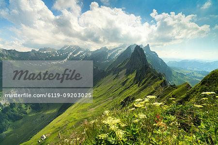 Peak Santis seen from Schafler during summer, Appenzell Innerrhoden, Switzerland, Europe