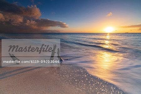 Sunset on Ffryes Beach, Antigua, Antigua and Barbuda, Leeward Islands, West Indies, Caribbean, Central America