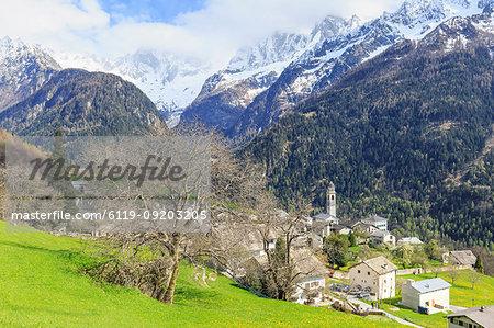 Spring at the village of Soglio, Val Bregaglia (Bregaglia Valley), Graubunden, Switzerland, Europe