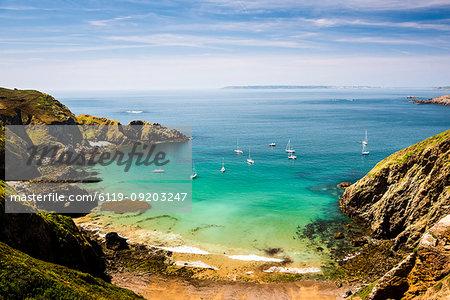 Sailing boats seen from La Coupee, Sark Island, Channel Islands, United Kingdom, Europe