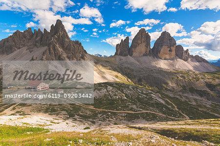 Tre Cime di Lavaredo and Mount Paterno, Dolomites, Bolzano Province, Trentino-Alto Adige, Italy, Europe