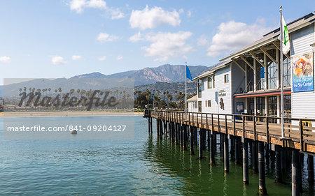View of Santa Barbara beach, Malibu Mountains from Santa Barbara pier, California, United States of America, North America