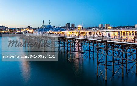 Brighton Palace Pier at night, East Sussex, England, United Kingdom, Europe
