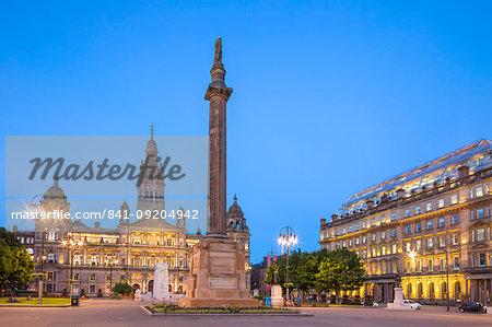 George Square, Glasgow City Chambers, Walter Scott Monument, Glasgow, Scotland, United Kingdom, Europe