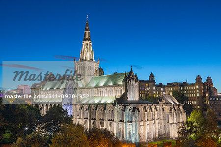 Glasgow Cathedral at dusk, Glasgow, Scotland, United Kingdom, Europe