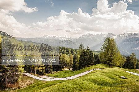 Scenic view, Heiligkreuz, Alta Badia South Tyrol, Italy