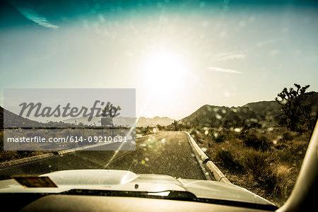 View through car windscreen, Joshua Tree National Park, California, USA