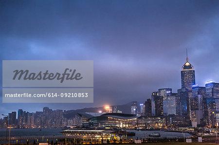 Cityscape and harbor at night, Hong Kong, China