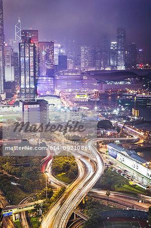 City and infrastructure at night, Hong Kong, China