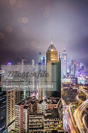 City and highways at night, Hong Kong, China