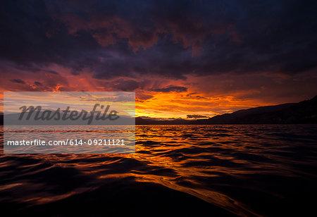 Sunset over Okanagan Lake and the South Okanagan Valley, Naramata, British Columbia, Canada