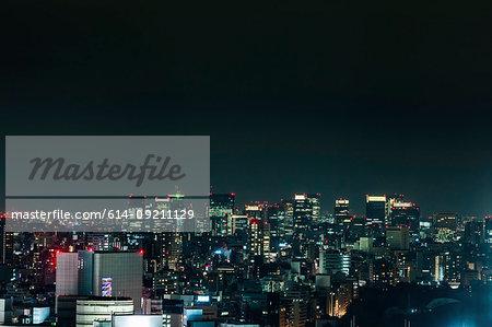 View of Tokyo skyline at night,  Japan