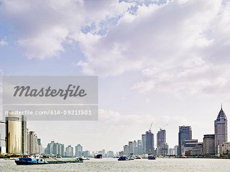 View of the Bund on river Huangpu, Shanghai, China
