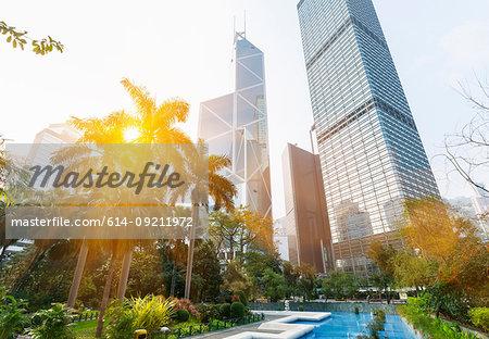 Statue square skyline including Bank of China building, Cheung Kong Center, Hong Kong, China