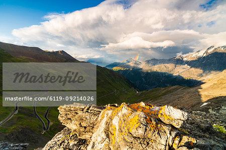 Rainbow on the rocky peaks, Stelvio Pass, South Tyrol side, Valtellina, Lombardy, Italy, Europe