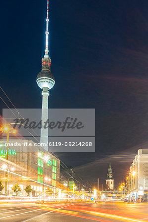 TV Tower at Alexander Platz (Alexander Square) in Berlin Mitte by night, Berlin, Germany, Europe