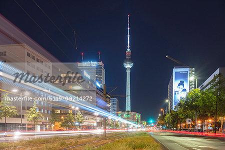 Alexander Platz by night with light trails, Berlin, Germany, Europe