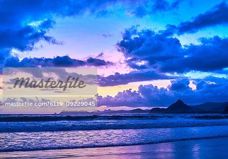 Amazing twilight on Selong Belanak Beach, Lombok, Indonesia, Southeast Asia, Asia