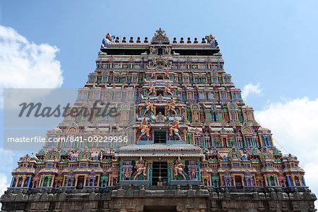 Main ornately carved painted gopuram at the 10th century Nataraj temple, Chidambaram, Tamil Nadu, India, Asia