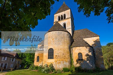 he Romanesque Church of Saint Leon in Saint-Leon-sur-Vezere, Dordogne, Nouvelle-Aquitaine, France