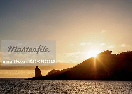Pinnacle Rock on Bartolome Island at sunrise, Galapagos, UNESCO World Heritage Site, Ecuador, South America