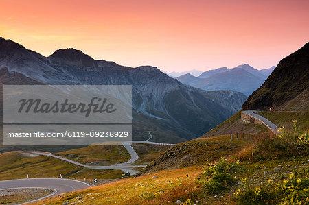 Sunset at the top of the Stelvio Pass (Passo dello Stelvio), Eastern Alps, Italy, Europe