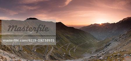 Sunrise over the Stelvio Pass (Passo dello Stelvio), Eastern Alps, Italy, Europe