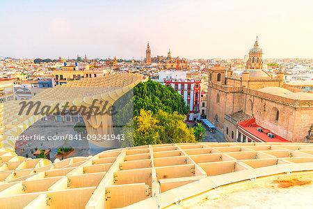 Church of the Annunciation, La Giralda and Seville skyline from Metropol Parasol, Plaza de la Encarnacion, Andalusia, Spain, Europe