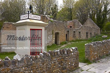 The abandoned ghost village of Tyneham showing the restored 1940s telephone booth, near Wareham, Dorset, England, United Kingdom, Europe