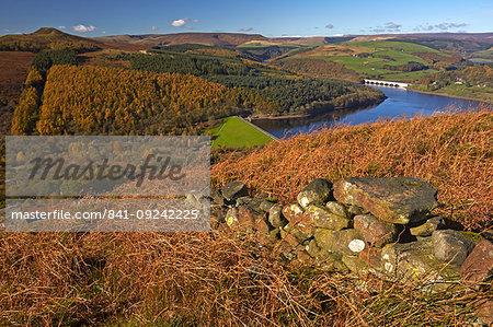 Ladybower Reservoir and Derwent Valley in autumn seen from Bamford Edge, Peak District National Park, Derbyshire, England, United Kingdom, Europe