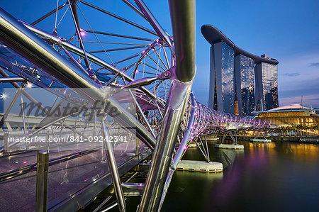 Marina Bay Sands Hotel and the Helix Bridge, Marina Bay, Singapore, Southeast Asia, Asia