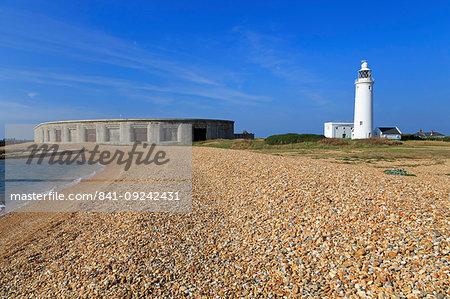 Hurst Point Lighthouse and Castle, Keyhaven, Hampshire, England, United Kingdom, Europe