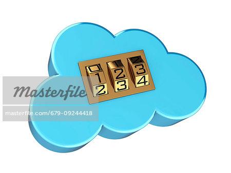 Secure cloud computing, conceptual illustration. Cloud symbol with combination lock.