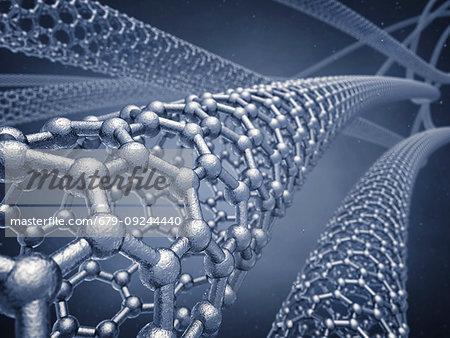 Graphene nanotubes, illustration.