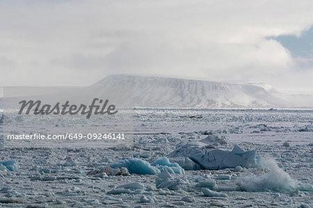 Arctic ocean sea ice and snowy coastal landscape, Wahlenberg fjord, Nordaustlandet, Svalbard, Norway.