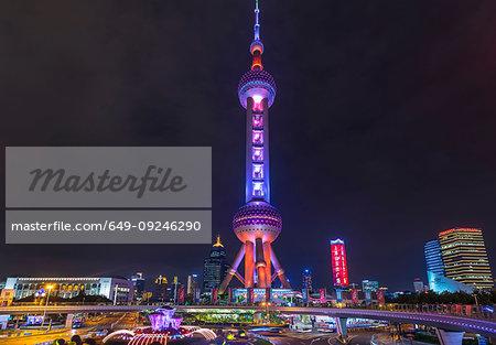 Oriental Pearl Tower at night, Shanghai, China
