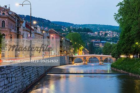 Latin Bridge at sunset in Sarajevo, Bosnia and Hercegovina, Europe