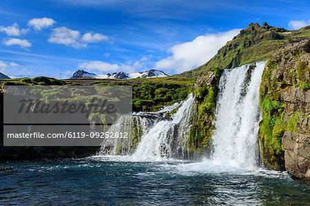 Kirkjufellsfoss waterfall in Grundarfjordur, Iceland, Europe