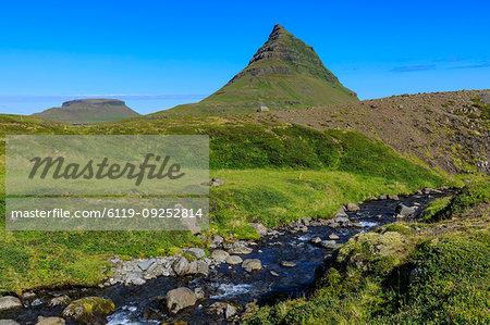 River by Kirkjufell mountain in Grundarfjordur, Iceland, Europe