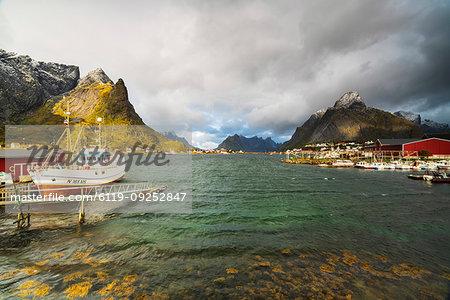 Fishing boats in the harbor, Reine, Nordland, Lofoten Islands, Norway, Europe
