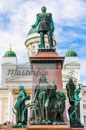 Statue of Emperor Alexander II in Senate Square, Helsinki, Finland, Europe