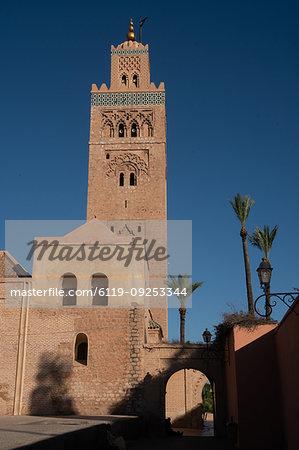 Minaret of the landmark Koutoubia Mosque, against an azure blue sky, Medina of Marrakesh, UNESCO World Heritage Site, Morocco, North Africa, Africa