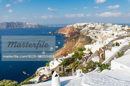 View of Oia village, Santorini, Cyclades, Aegean Islands, Greek Islands, Greece, Europe
